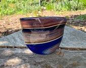 "Little Jupiter Purse Vase, Deep Blue, Warm Brown, Red Wraps, 7.5"" Purse-Shaped Blown Glass Art, Northwest Modern Design, Avalon Glassworks"