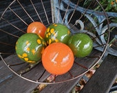 """Orange and Mossy Green, Blown Glass Balls, Set of Five, 2.5""""-3.5"""" Garden Spheres, Decorative Floats for Indoors or Out, By Avalon Glassworks"""