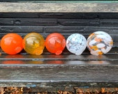 "Orange White Pond Floats, Set of Five 3.5""-4"" Hand Blown Glass Balls Interior Deign Spheres Decorative Outdoor Garden Art, Avalon Glassworks"