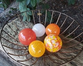 "Fall Festivities, Set of Five, 2.5""  Blown Glass Floats in Red, Orange, Yellow, and White, Sturdy Decorative Glass Balls by Avalon Glasswork"