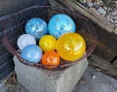 "Sunny Day Glass Floats, Set of Seven 2.5"" to 4.5"" Blown Glass Floats in Blue, Yellow, Orange & White,  Decorative Balls for Home or Garden"