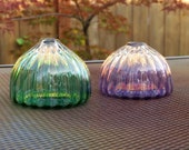 "Blown Glass Sea Urchin Shell Vases, Set of Two, 3"" Decorative Purple and Green Shell Sculptures, Bud Vases, By Avalon Glassworks"