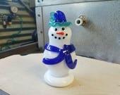 Blue Hat Glass Snowman Sc...