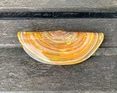 """Glass Razor Clam, Decorative 5"""" Hand Blown Sea Shell Sculpture, Northwest Delicacy, Sea Shore Decor Sea Life Clamshell, Avalon Glassworks"""