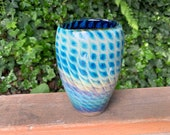"Butterfly Wing Vase, 6"" Blown Glass Pattern, Deep Blue with Lighter Blue & Beige Scale Pattern, 6"" Tall Art Vase, By Avalon Glassworks"