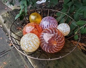 "Golden Autumn Hues Glass Floats, Set of six 2.5"" - 4"" Hand Blown Glass Balls, Garden Spheres, Pond Orbs, Nautical Decor by Avalon Glassworks"