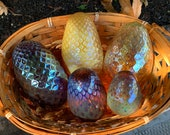 Glass Pine Cones, Set of Five Blown Glass Pinecone Sculptures in Iridescent Brown & Gold, With Basket, Table Centerpiece, Avalon Glassworks