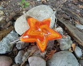 "Orange and Yellow Sea Star, Solid Glass 5"" Starfish Sculpture, Decorative Beach Paperweight, By Avalon Glassworks"