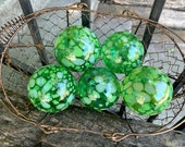 Emerald Green Spot Glass Balls, Set of 5 Small Hand Blown Pond Floats, Outdoor Garden Decor Interior Design Basket Filler, Avalon Glassworks