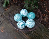 "Turquoise and White Spots, Set of Five Floats, 2.5"" Decorative Blown Glass Balls, by Avalon Glassworks"