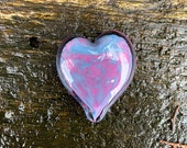 "Pink and Blue Spot Glass Heart, Solid Heart-Shaped 3"" Paperweight Sculpture, Valentine, Appreciation Gift, By Avalon Glassworks"