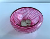 "Cranberry Glass Pink Optic Twist Bowl, 4.25"" Double-Wall Style Candy Dish, Jewelry Holder, Key Drop, Front Hall Decor, Avalon Glassworks"