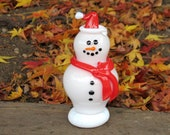 Glass Santa Snowman Sculpture with Red Hat and Scarf, Black Eyes & Smile, By Avalon Glassworks