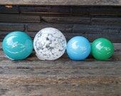 "Blues, Green and White Blown Glass Balls, Set of Four 2.5""-3.5"" Pond Floats, Garden Decoration, Basket Filler, Yard Art, Avalon Glassworks"