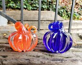 "Cobalt and Orange Solid Glass Pumpkin Paperweights, 3"" Decorative Squash Sculptures, Curly Stems, Transparent Duo, By Avalon Glassworks"