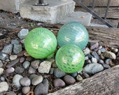 "Extra Large Green Floats, Set of Three 4"" - 6"" Oversized Glass Balls with Scaly Green Pattern, Decorative Spheres By Avalon Glassworks"