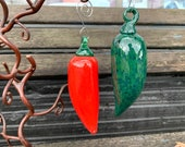 "Glass Pepper Ornaments, Red and Green Chili Peppers, 5"" Hanging Sun Catchers, Tree Decorations, Jalapeño, Metal Hooks, Avalon Glassworks"