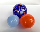 "Blue and Orange Glass Floats, Set of Three 2.5""-3.5"" Hand Blown Balls Sturdy Decorative Garden Art Spheres Outdoor Decor, Avalon Glassworks"