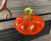 Glass Pumpkin Ornament, Transparent Bright Orange Hanging Sun Catcher, Tree Decoration, Halloween Decor, Green Stem Loop, Avalon Glassworks