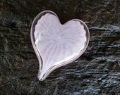 """Pale Purple and Pink Glass Heart, Solid 3"""" Paperweight Art Sculpture, Appreciation, Valentine, Anniversary, Wedding Gift, Avalon Glassworks"""