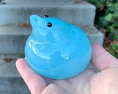 "Sky Blue Glass Chick, Hand Blown Peep, 2.5"" Bird Sculpture, Cute Easter Basket Filler Mantel Table Spring Baby Decoration, Avalon Glassworks"