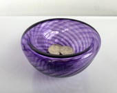"Purple Hand Blown Glass Bowl, 4.25"" Double-Wall Style Optic Twist Pattern, Candy Dish Jewelry Holder Key Drop Entry Decor, Avalon Glassworks"