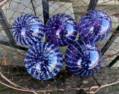 "Purple Stripe Floats, Set of Five Hand Blown Glass 2.5""-2.75"" Balls, Garden Decor Transparent Amethyst White Spot Pattern, Avalon Glassworks"