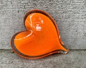 "Orange Glass Heart, Solid Heart-Shaped 3.5"" Paperweight Sculpture, Valentine's Day, Appreciation Gift By Avalon Glassworks"