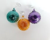 "Sea Urchin Ornaments, Set of Three 2"" Hanging Sea Shell Sculptures, Blown Glass Holiday Ornament or Suncatcher, By Avalon Glassworks"
