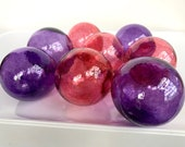 "Purple and Pink Blown Glass Balls, Set of Eight 2.75"" Decorative Garden Art Floats, Floating Pond Spheres, Basket Filler, Avalon Glassworks"