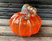 "Orange Glass Pumpkin, 4"" Transparent Decorative Gourd with Gold Ribs & Coiled Stem, Autumn Table Centerpiece, Hand Blown, Avalon Glassworks"