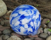 "Cloud Float, 5"" Blown Glass Pond Float with Blue and White Design, Decorative Garden Ball By Avalon Glassworks"