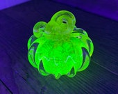 Uranium Glass Pumpkin Paperweight, Glows in Black Light, Hand Made Bright Yellow Vaseline Glass Sculpture, by Avalon Glassworks
