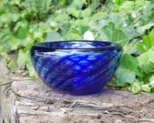 """Cobalt Blue Optic Twist Blown Glass Bowl, 4.5"""" Double-Wall Style, Candy Dish, Jewelry Holder, Made in Seattle by Avalon Glassworks"""