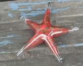"Red and Gold Starfish, Solid Glass 6"" Sea Star Sculpture, Decorative Paperweight, Dark Red with Gold Spots, By Avalon Glassworks"