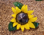 "Sunflower Sculpture, Blown Glass 6"" Decorative Flower with Brown Center, Yellow Petals, Green Curled Leaves, By Avalon Glassworks"