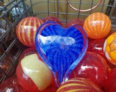 "Blue Two-Toned Glass Heart, Solid Heart-Shaped 3"" Paperweight Sculpture, Appreciation Gift, By Avalon Glassworks"