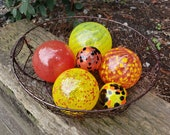 "Yellow and Red with Spots, Set of Six, 2.5"" to 5"" Blown Glass Floats in Red and Yellow, Sturdy Decorative Glass Balls by Avalon Glasswork"