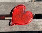 Strawberry Heart, Red Solid Glass Heart-Shape Paperweight Sculpture Bubble Pattern Appreciation Valentine Anniversary Gift Avalon Glassworks