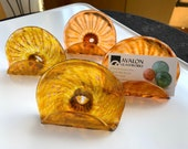 """Amber Business Card Holders, Office Decor, Set of Four Transparent Gold 4"""" Blown Glass Desk Accessories, Photo Holders, By Avalon Glassworks"""