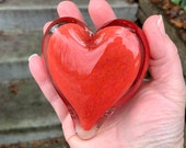 "Red Glass Heart, Solid Heart-Shaped 3"" Paperweight Sculpture, Valentine's Day Appreciation Anniversary Romantic Love Gift, Avalon Glassworks"
