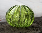 "Green Sea Urchin Shell Sculpture, 4"" Decorative Blown Glass Shell with Bubble Pattern in Transparent Peridot, By Avalon Glassworks"