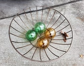 """Nautical Floats, Set of 4, 2.5"""" Hand Blown Glass Balls in """"Bottle Glass"""" Colors of Green and Brown, By Avalon Glassworks"""