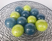 "Bright Green and Blue Floats, Set of Twelve 2.75"" Blown Glass Decorative Balls, Home and Garden Decor, Hand Blown by Avalon Glassworks"