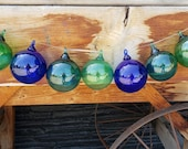 "Nautical Blown Glass Ornaments, Set of Seven, 3"" Decorative Balls with Colored Loops, Holiday Decor, Sun Catchers, By Avalon Glassworks"