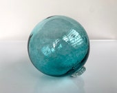 "Blown Glass Float, Aqua Blue Green Transparent, 3.75"" Decorative Sphere, Outdoor Garden Art Floating Ball Coastal Nautical Avalon Glassworks"