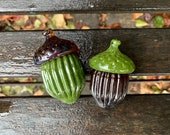 "Glass Acorns, Set of Two, 2.5"" Brown and Green Seed Pod Sculptures, Paperweights, Autumn Decor, Woodland Oak Tree Art, By Avalon Glassworks"