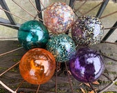 "Purple Green Orange Floating Glass Balls, Set of Six, 2.75"" Decorative Floats Interior Design, Outdoor Garden Art Spheres, Avalon Glassworks"