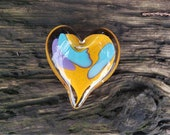 "Orange, Purple & Aqua Abstract Glass Heart, Solid Heart-Shaped 3"" Paperweight Sculpture, Valentine, Appreciation Gift, By Avalon Glassworks"