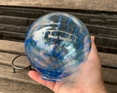 """West Seattle Bridge Float with Stand, Transparent Blue Blown Glass 4"""" Ball with Silver Etching, Garden Ball, Office Decor, Avalon Glassworks"""